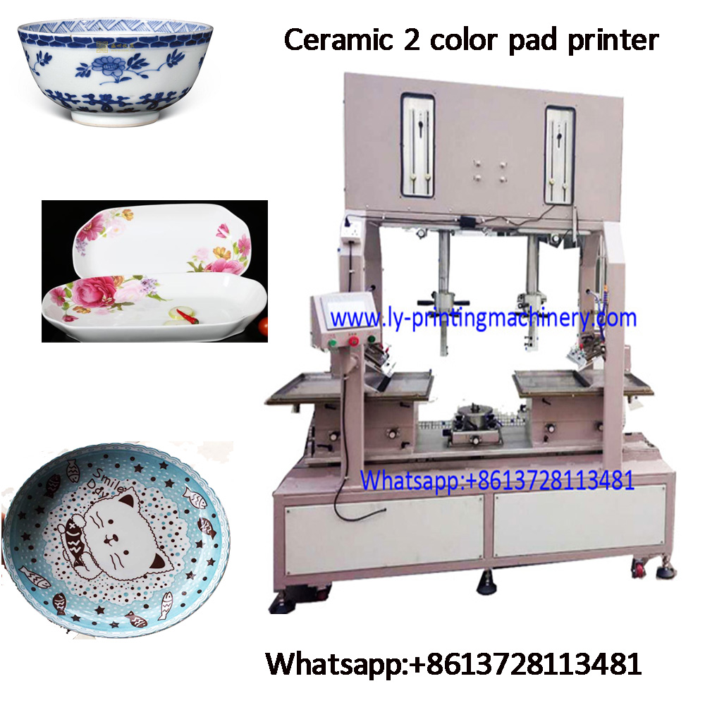 Ceramic 2 color big size custmoized pad printer with PLC control